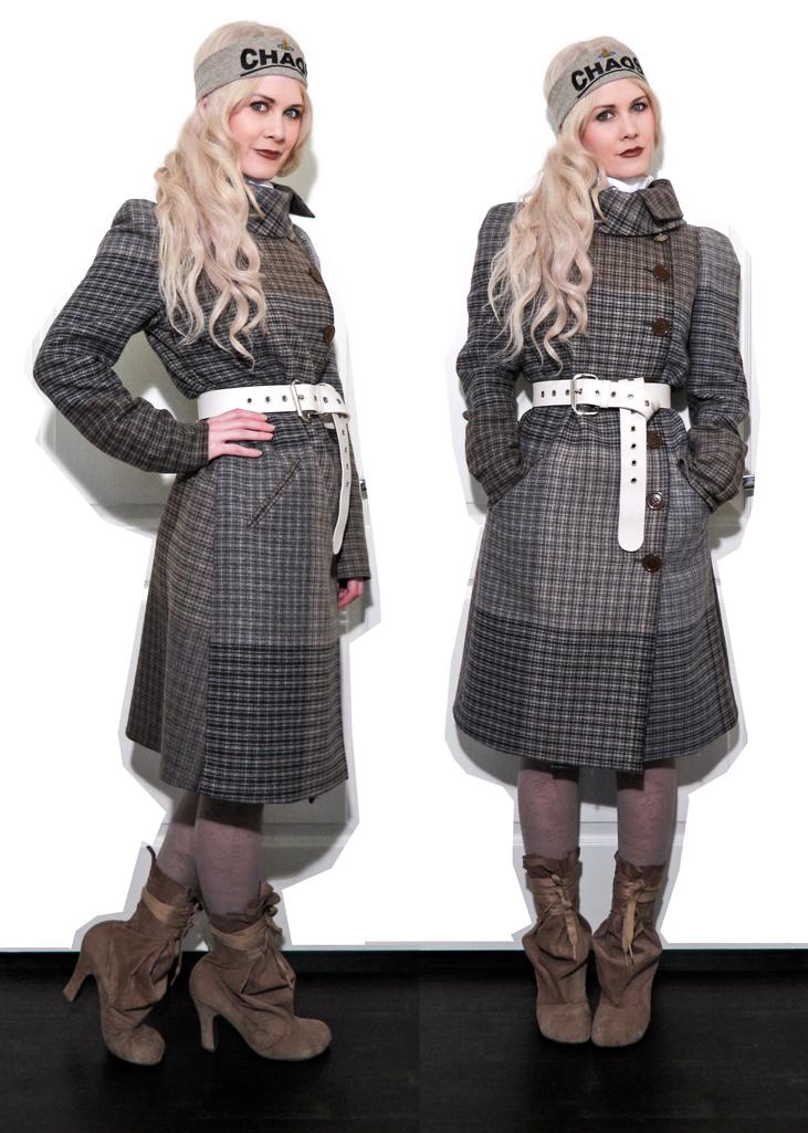 Foggy Tweed High Collar Coat SM